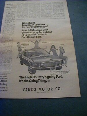 1969 ford mustang newspaper ad local dealer business ad