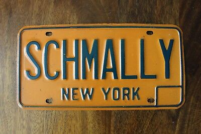 True Vintage 1970's SCHMALLY New York Personalized REAL Vanity License Plate