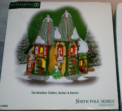 Department 56 NORTH POLE - The Reindeer Stables, Dasher & Dancer - NEW MIB NOS