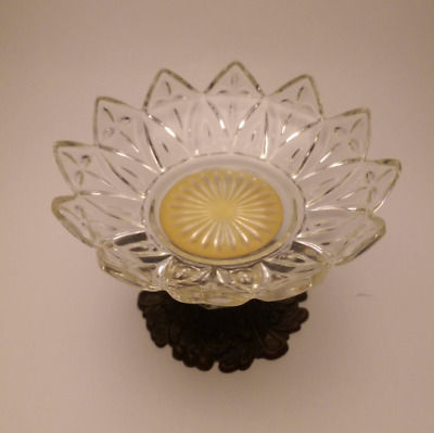 Vintage Sunflower Pressed Glass Pedestal Dish Brass Pedestal