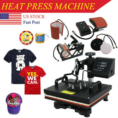 "5IN1 Combo T-Shirt Heat Press Transfer 12""x15"" Printing Machine Swing Away NEW"