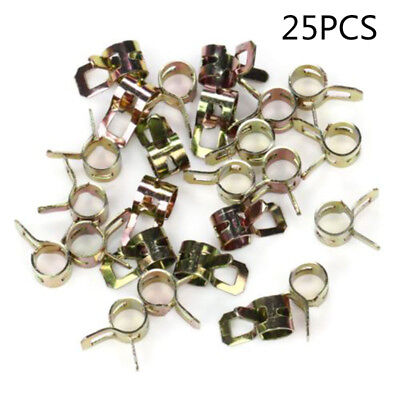 "25pcs 1/4"" Gas Fuel-Line Clamps For 1/2"" Hose Universal Spring Action Lawn Mower"