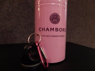 CHAMBORD LIQUEUR 18oz FLASK SPARKLY PINK Drink TRAVEL BOTTLE Fuchsia Carabiner