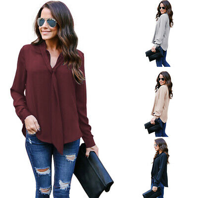 US Fashion Women Long Sleeve Loose Blouse Ladies Summer V Neck Casual Shirt Tops