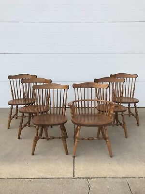 Set Of 6 Bent Brothers Hand Crafted Wood Dining Chairs 5 Plus 1 Captain
