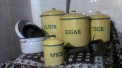 antique cream enamel canisters, vintage white dripping canister w strainer,mouli