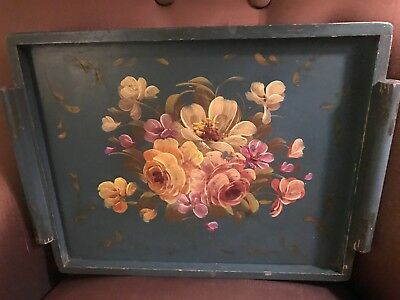 Vintage Pale Green Wood Tole Tray Pink  & Yellow Roses Shabby Chippy Chic