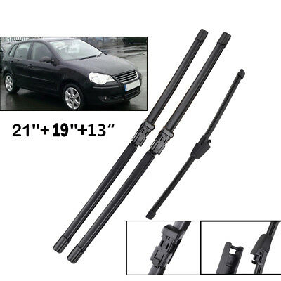 Front Rear Wiper Blades Kit Set Fit For VW Polo 1.4TDi BlueMotion 2007 2008 2009