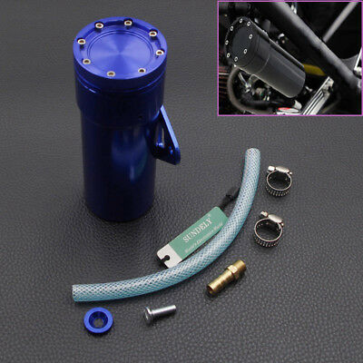 Motorcycle Oil Catch Tank Aluminum Coolant Reservoir Can Blue for Honda