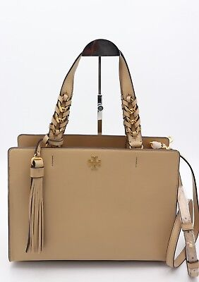 596c10dd1084 NWT Tory Burch Brooke Beige Leather Satchel Shoulder Bag Tote New  578