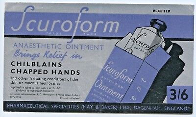1950's Unused Vintage Blotter Scuroform Anaesthetic Ointment Sydney Rep Nsw O15