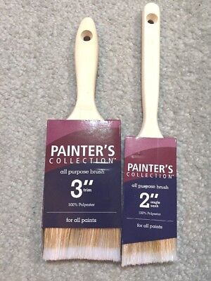 "2 All Purpose Paint Brushes (1) 3"" Brush and (1) 2"" Angle Trim Brush"