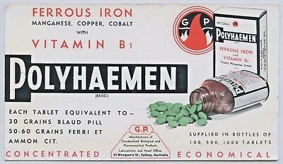 1950'S Unused Vintage Blotter Pharmaceutical Polyhaemen Vitamin Tablets O14