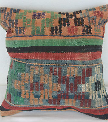 Turkish Kilim Pillow 16x16, Kilim Rug Cushion 16x16, Geometric, Blue, Orange
