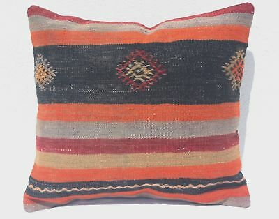 TURKISH KILIM PILLOW 17x16, KILIM RUG CUSHION, Geometric, Striped, Black, Orange