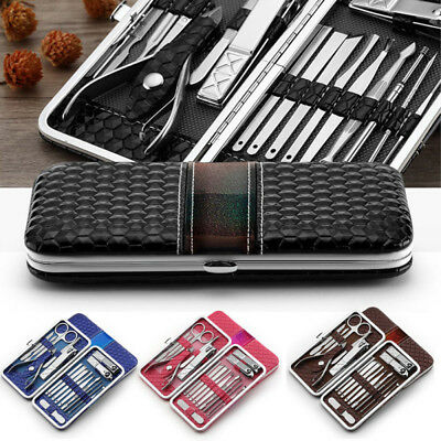 18pcs Manicure Set Nail Clipper Grooming Pedicure Kit Stainless Steel Men Women