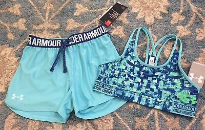Girl UNDER ARMOUR Athletic Outfit~Size YMD & YLG~Sports Bra & Shorts**Cute