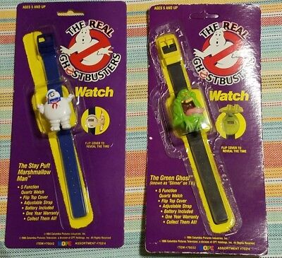 Vintage 1989 The Real Ghostbusters Green Ghost Slimer And Stay Puft Watches
