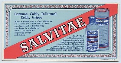 1950'S Unused Vintage Blotter Pharmaceutical Salvitae Powder Usa Colds Gripe O11
