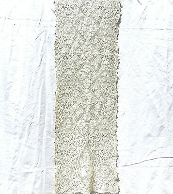 """Vintage Quaker Lace Table Runner Dresser Scarf 12.75x52"""" Silk Rayon"""