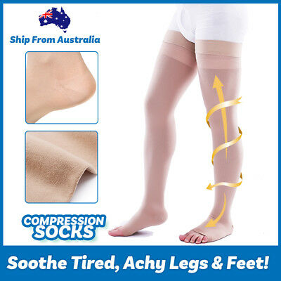 Medical Compression Stocking Support Varicose Veins Socks Calf Open Toe Grade-II