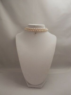 Two Strand, 6mm Cream pearl Choker with Sparkle Swarovski Rhinestone Pendant
