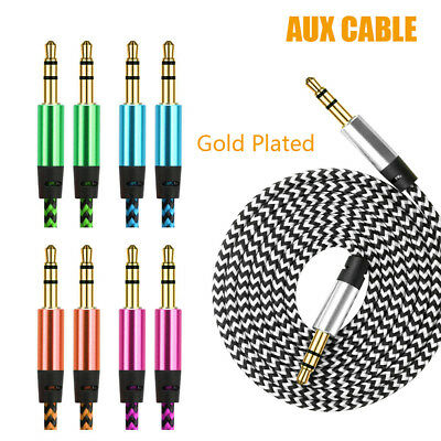 3.5MM Jack Male To Male Audio Cable AUX Cord For Car Phone Braided Gold Plated