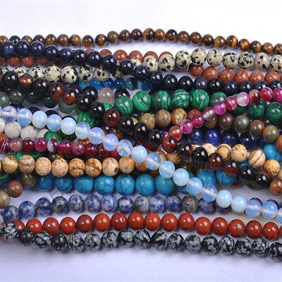 40PCS Natural Gemstone Round Spacer Loose Beads 4MM 6MM 8MM 10MM Assorted Stones