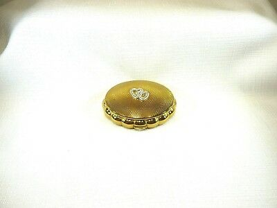 Vintage Estate KIGU Minuette Double Heart Gold Tone Metal Mirror Musical Compact