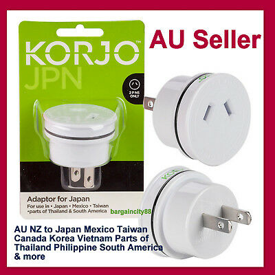 Korjo Travel Plug Adapter Adaptor Charger For Japan From Australia &New Zealand