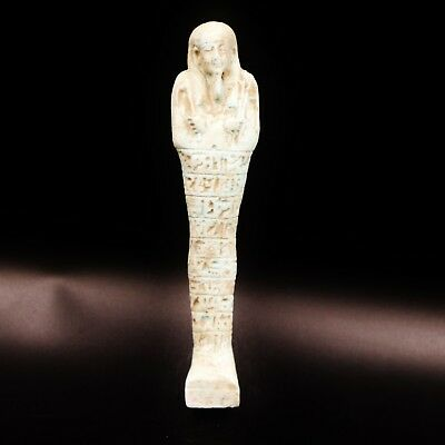 Fine Ancient Egyptian Faience Ushabti (Shabti) Statue Figure, 570 BC