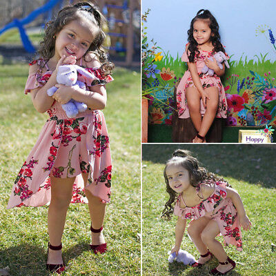 Floral Toddler Baby Girls Ruffle Dress Romper Bodysuit Jumpsuit Outfits Playsuit