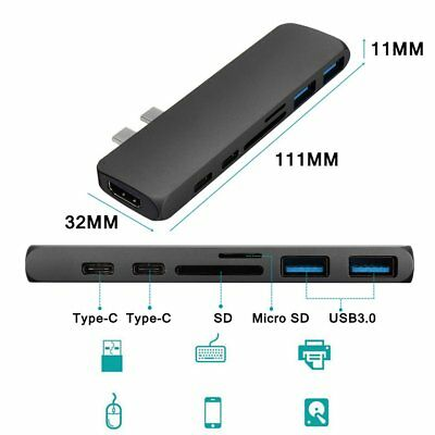 7in1 USB-C Hub Dual Type-C Multiport Card Reader Adapter 4K for MacBook Pro