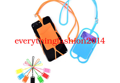 Test Silicone Phone Back Case Card Holder Lanyard Sling Necklace Strap Neck Cord