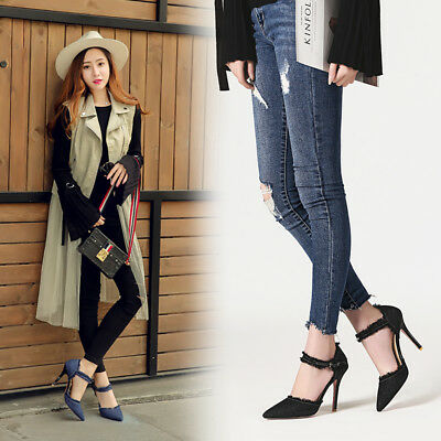 Women Chic Denim High Heels Pointed Toe Party Ankle Starp Pumps Shoes Size 31-47