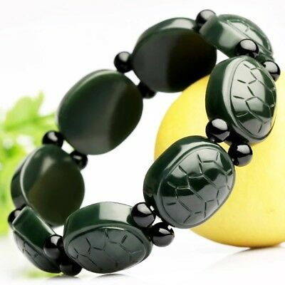 Chinese Natural Black Green Jade Tortoise Beaded Bracelet Fashion Charm Jewelry