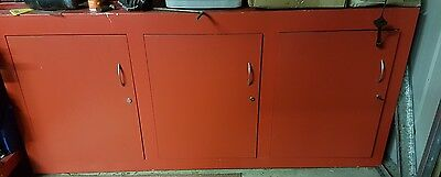 Red work bench and cupboard custom made