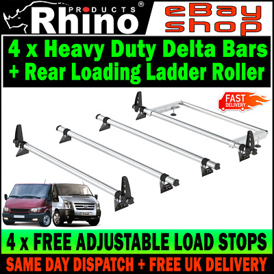 SWB+MWB=LOW ROOF 4 x Ford Transit Roof Rack Bars With Roller 2000-2014 Rhino Van