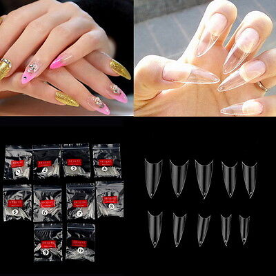 500Pcs Transparent Stiletto Point French Acrylic UV Gel False Nail Tips MG