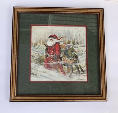"Peggy Abrams Print Santa Saint Nick Framed & Matted 13 1/2"" Home Interiors USA"