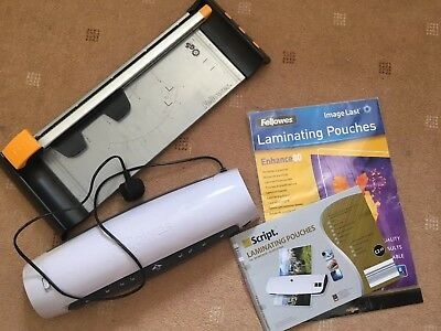 Fellowes A4 A3 Laminator and Guillotine Set with pouches