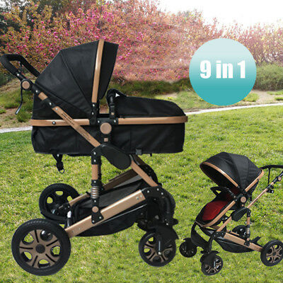 9 in 1 Luxury Newborn Foldable Pram Baby Stroller Jogger with Bassinet Pushchair