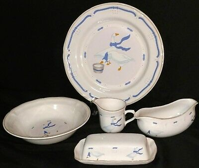 Vintage Country Side Geese Newcor Stoneware Service Set Platter Bowl Butter