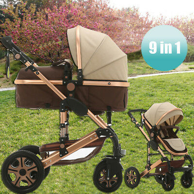 New 9 In 1 Baby Toddler Reversible Pram Stroller Travel Jogger With Bassinet