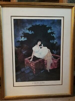 """NO RESERVE!! George Rodrigue Blue Dog limited edition""""a night alone"""" Print..."""