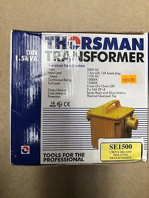 Thorsman - 1.5Kva 240 - 110V Isolatng Site Transformer Yellow Case 2 Skt