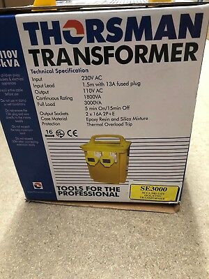 Thorsman - 3Kva 240 - 110V Isolatng Site Transformer Yellow Case 2 Skt