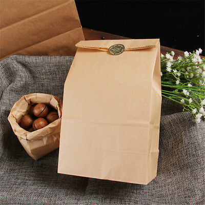 10pcs Vintage Brown Kraft Paper Bags Gift Food Bread Candy Party Bags`FO