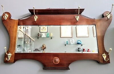 Fine Solid Walnut Arts and Crafts Hall Mirror with Brass Coat Hooks