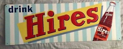 Rare  1950s Original Drink Hires Root Beer Embossed Tin Sign
